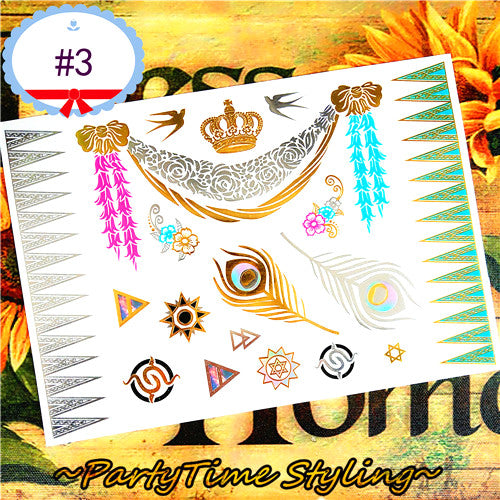 SHNAPIGN 25 style Temporary Tattoo Body Art,golden Green feathers Designs,Flash Tattoo Sticker Keep 3-5 days Waterproof 21*15cm