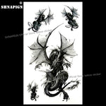 SHNAPIGN Black Doom Dragon Temporary Tattoo Body Art Flash Tattoo Stickers 17*10cm Waterproof Fake Car Styling Wall Sticker