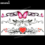 SHNAPIGN Butterfly Love Heart Temporary Tattoo Body Art Arm Flash Tattoo Stickers 17*10cm Waterproof Fake Henna Painless Sticker