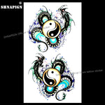 SHNAPIGN Yin Yang Taichi Dragon Temporary Tattoo Body Art Flash Tattoo Stickers 17*10cm Waterproof Fake Car Styling Wall Sticker