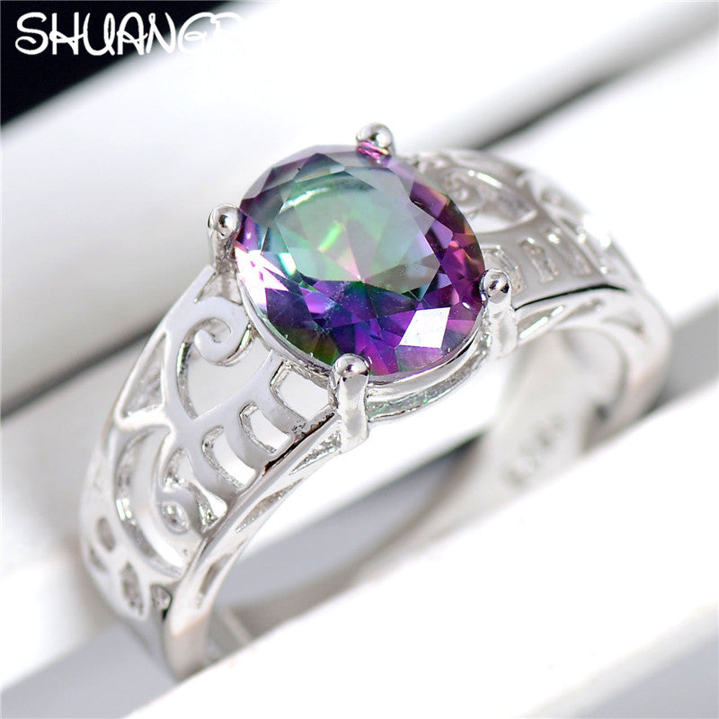 SHUANGR 2017 New Cubic Zirconia Free Shipping Fashion Jewelry Silver Color Purple Oval Austrian Crystal Rings For Women Gift
