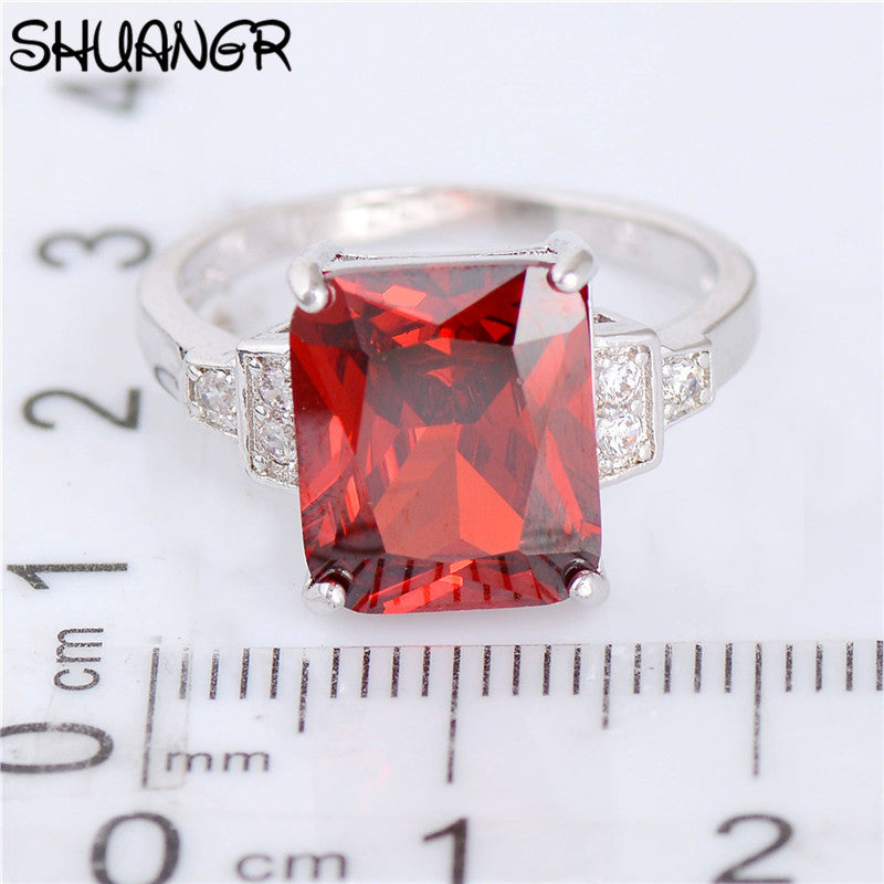 SHUANGR Vintage 2017 Jewelry Square Shape Brilliant Red Cubic Zirconia Colorful Wedding Finger Silver-Color Rings for Women TA17