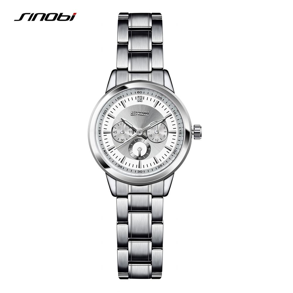 SINOBI Women Watch Elegant Brand Famous Luxury Silver Quartz Watches Ladies Steel Antique Geneva Wristwatches Relogio 2017 Gift