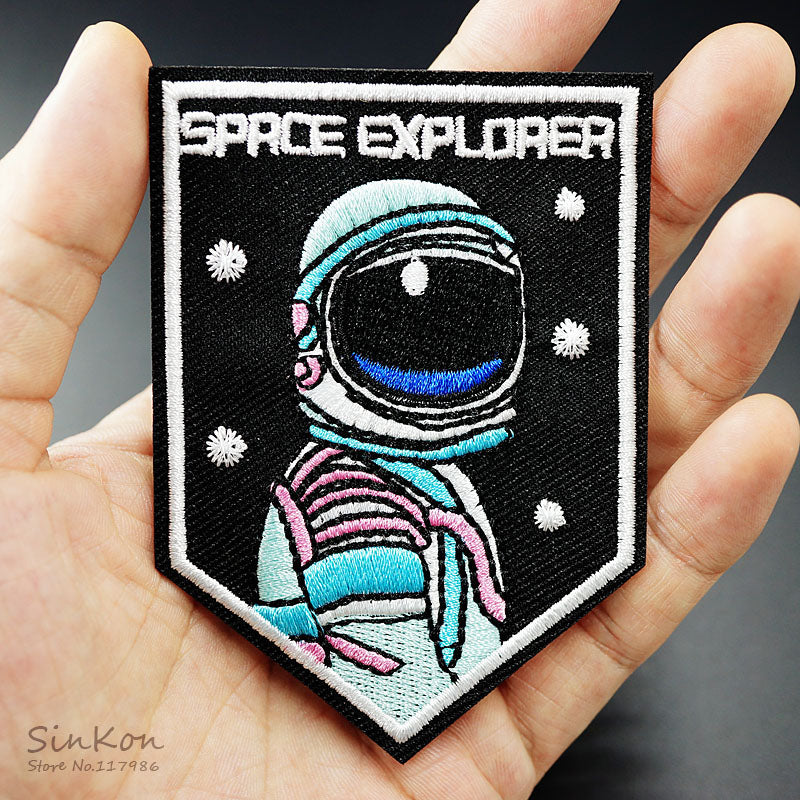 SPACE EXPLORER 6.5x9.0 Iron On Badge Patches Embroidered Applique Sewing Patch Clothes Stickers Garment Apparel Accessories