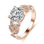 Saatleri Flower Crystal Wedding Ring For Women Jewelry Accessories Rose Gold Gold Engagement Ring