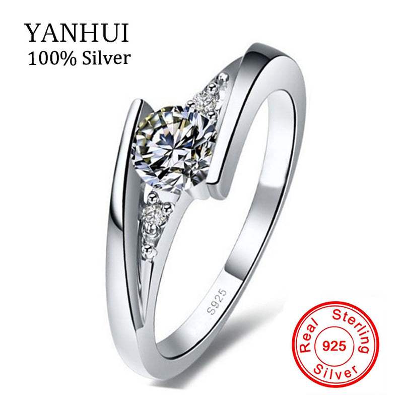 Sent Certificate of Silver!!! 100% Pure 925 Sterling Silver Ring Set Luxury 0.75 Carat CZ Diamant Wedding Rings for Women R5036