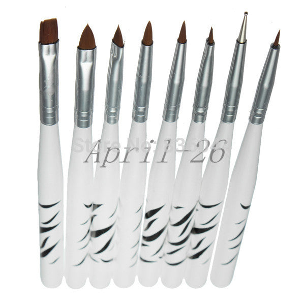 Set 8Pcs UV Gel Nail Art Brush 8 Design Dotting Painting Drawing Liner Fin Polish Pen Tools Tips Manicure DIY Kit