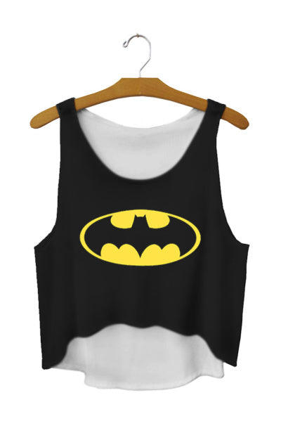 SexeMara Fashion Bat Mysterious Women Crop Tops Short Sexy Tank Tops Vintage Girls Batman Shirt Black Personality Cropped F669