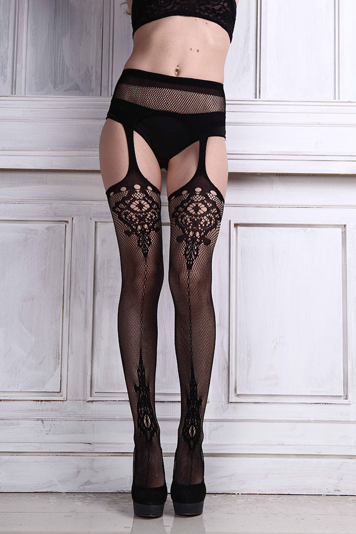 Sexy Womens Lingerie Black Elastic Lace Top Garter Belt Thigh Mesh Stockings Female Thin Net Pantyhose Lady Hose Clubwear Jan18