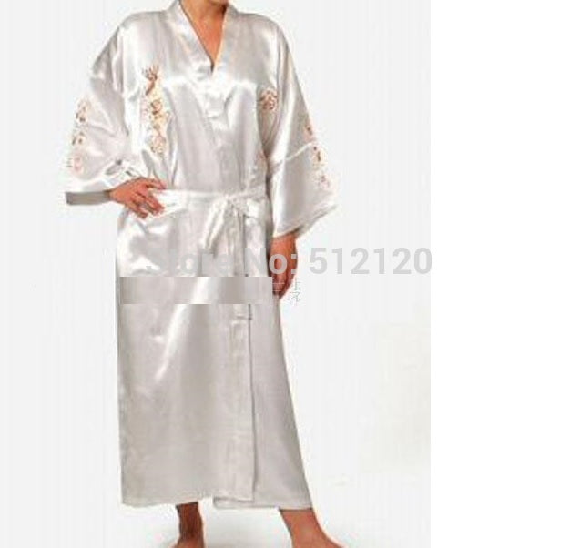 Shanghai Story hot sale Navy Blue Chinese Men's Faux Silk Satin Embroider Kimono Robe Gown Dragon 5 color