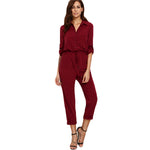 Sheinside Burgundy Women Jumpsuit 2017 Autumn Ladies Lapel Tie Waist Dual Pockets Rolled Sleeve Buttons Front Office Jumpsuit