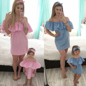 Shoulder Off Family Dress Lady's Mother Daughter Matching Summer Girl Dress Solid Clothes Outfit