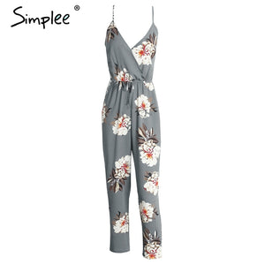 Simplee Casual print long jumpsuit romper women Sexy v neck straight overalls Streetwear sashes chiffon playsuit
