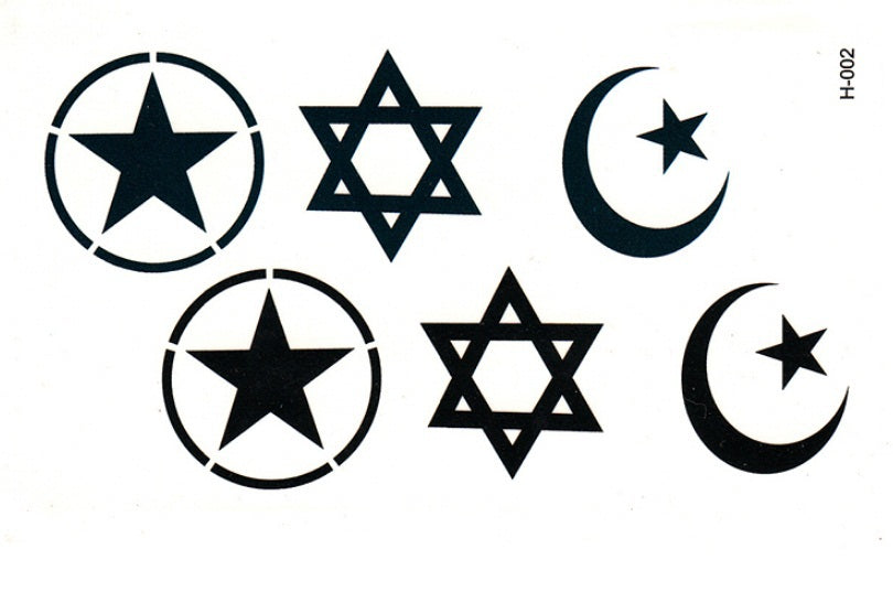 Six men and five-pointed star star moon simulation waterproof disposable tattoo stickers to cover lasting fake tattoos