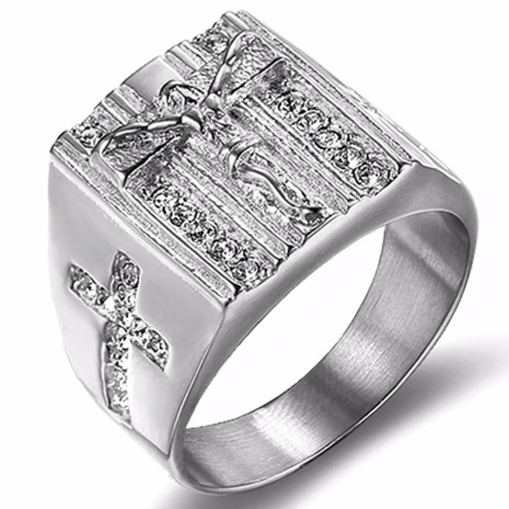 Size 6-15 Stainless Steel Jesus Cross Ring Christian Prayer Signet Religious Sacrifice Bible Cubic Zirconia Cocktail Party Biker