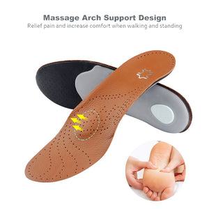 Soumit Leather Orthopedic Insoles with Massage High Arch Supports for Flat Foot Inserts Orthotic Insole Palmilha Shoes Pad Soles