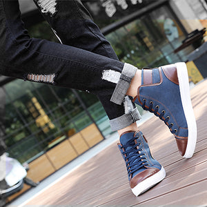 Spring Autumn Shoes Men Casual Shoes Fashion High Top Men High Pipe Retro Comfortable Men's Flat Shoes 642863