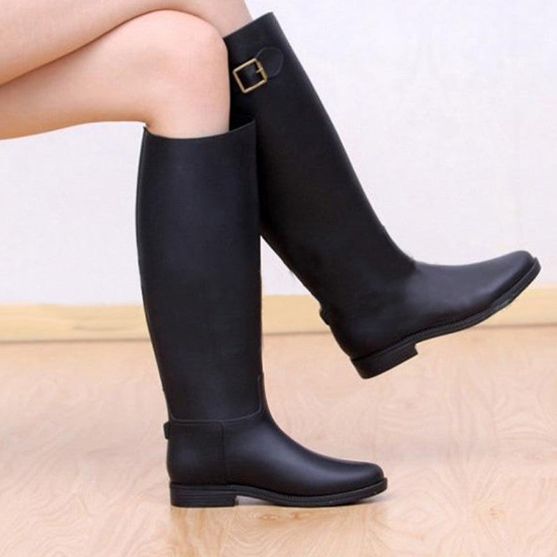 Spring Autumn Women New Fashion Rain High Knee Length Black Rubber Boots Shoes Waterproof Wellies 5 Sizes