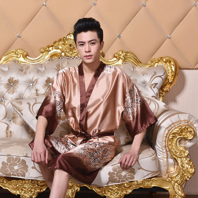 Spring Summer Autumn Men Chinese Satin Silk Robes Male Bathrobe Adult Casual Home Loungewear Man Pajama Nightwear Plus Size 3XL
