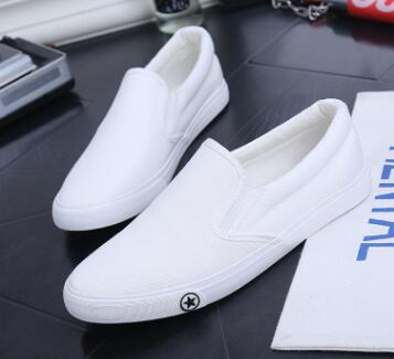 Spring Summer Classic Men Canvas Shoes Breathable White Casual Vulcanized Shoes Men Slip-On Breathable Flats For Men Zapatos