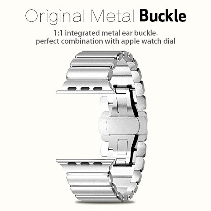 Stainless Steel Butterfly Buckle Metal Straps for Apple Watch band, 38mm/42mm Metal Link Strap for iwatch Series 3 2 1