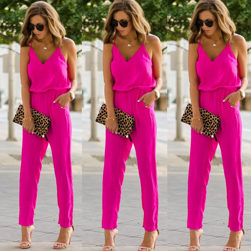 Stylish Women clothes spaghetti strap wide V-neck sleeveless Bodycon Jumpsuit Sexy solid casual Polyester Romper one pieces