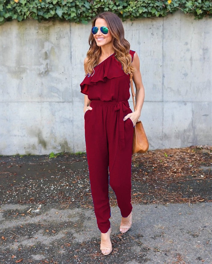 Summer Jumpsuit 2017 Women Red Black Flounce Bandage Chiffon Jumpsuit Club Jumpsuits Fashion Bodycon Long Section Women Jumpsuit