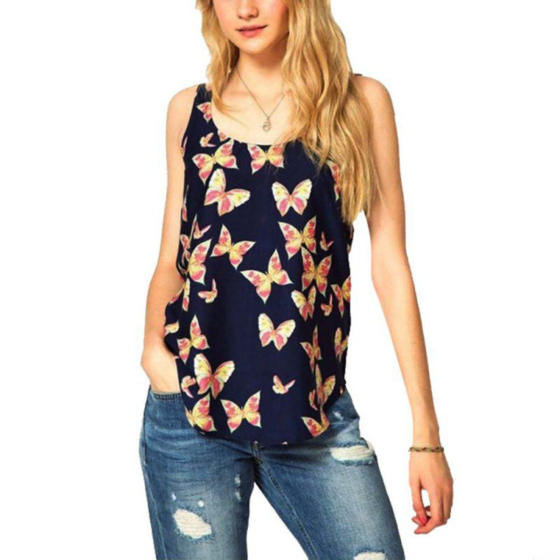 Summer Women' T-Shirt Women Printed Sleeveless Top T Shirt Female Tees Tops Camisole Blusas Femininas S-XXXL