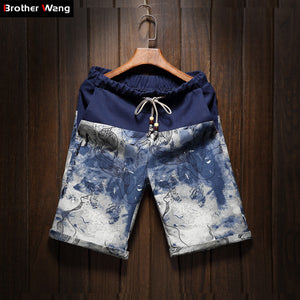 Summer men's large size shorts 2017 new male fashion stitching loose linen shorts Personality trend Comfort Shorts 4XL 5XL