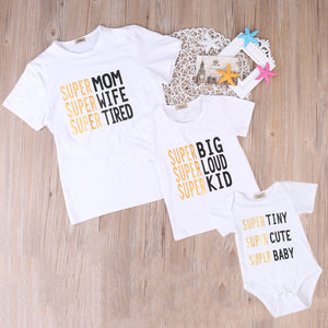 Super Famiy matching T-shirt Mom Kids Tee Baby Letter Bodysuit Newborn Infant Babies Boys Girls Clothes Outfits