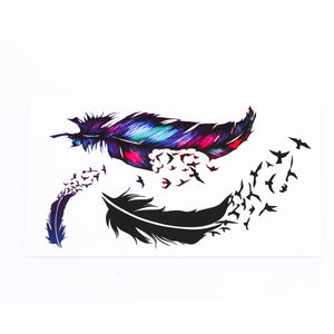 TOMTOSH New Hot Waterproof Small Fresh Goose Feather Color Temporary Tattoos Stickers DIY Body Art Beauty Makeup Free shipping
