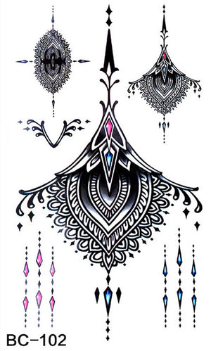 TOMTOSH Waterproof Temporary Tattoo sticker large size lotus totem on waist breast back Water Transfer