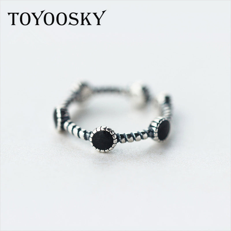 TOYOOSKY Fashion Silver Black Open Round Adjustable Rings for Women Party Simple Geometric Circle Finger Ring