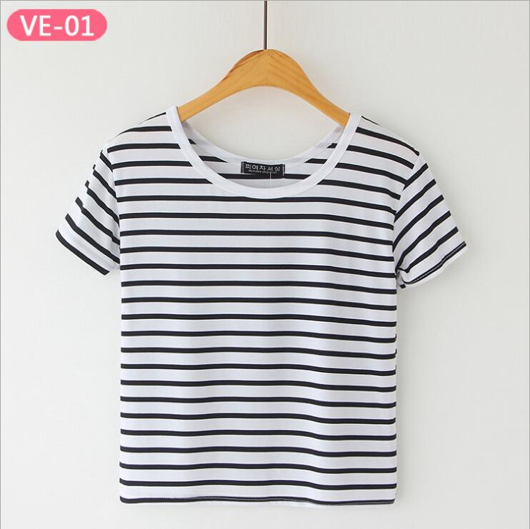 TRERONINAE striped crop top women loose blusas 2017 camiseta thin female o-neck cotton t shirt short sleeve casual tee shirts