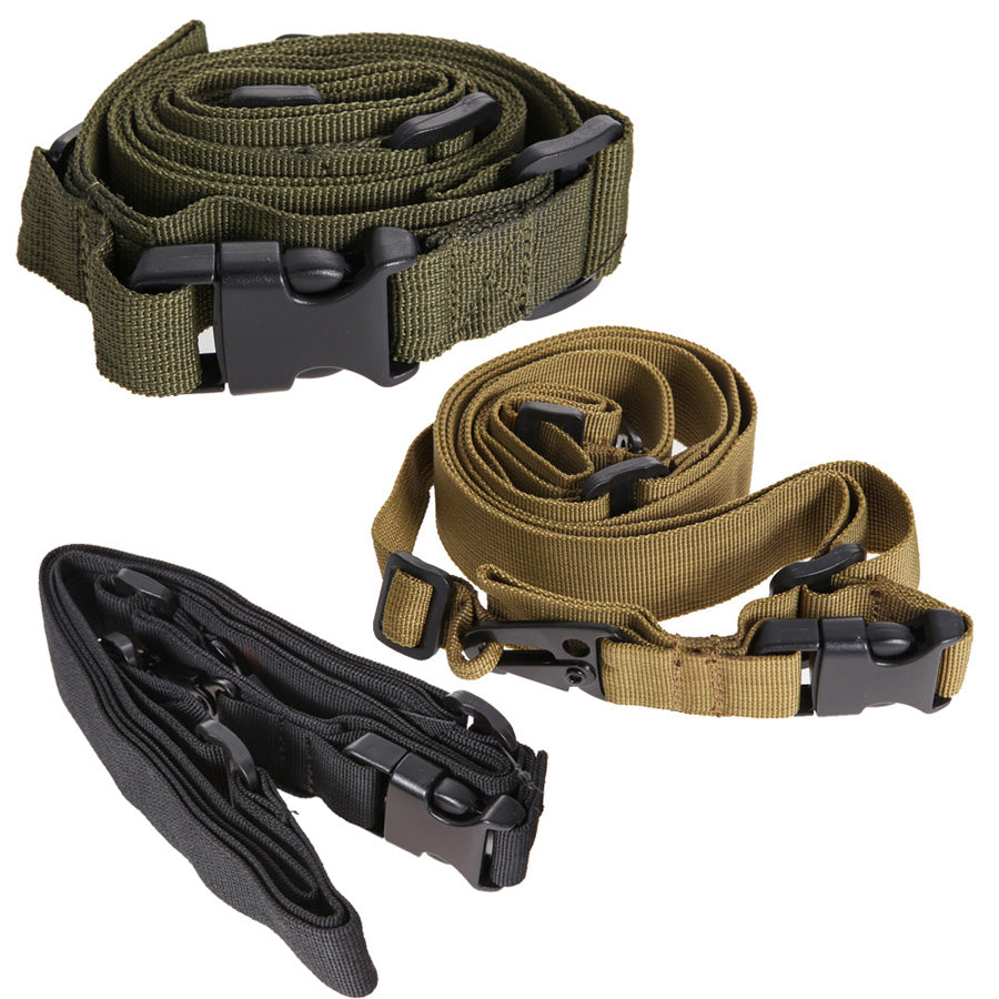 Tactical 3 Point Rifle Sling Adjustable Bungee Sling Swivels Airsoft Strap for Outdoor Camping Climbing Accessory High Quality