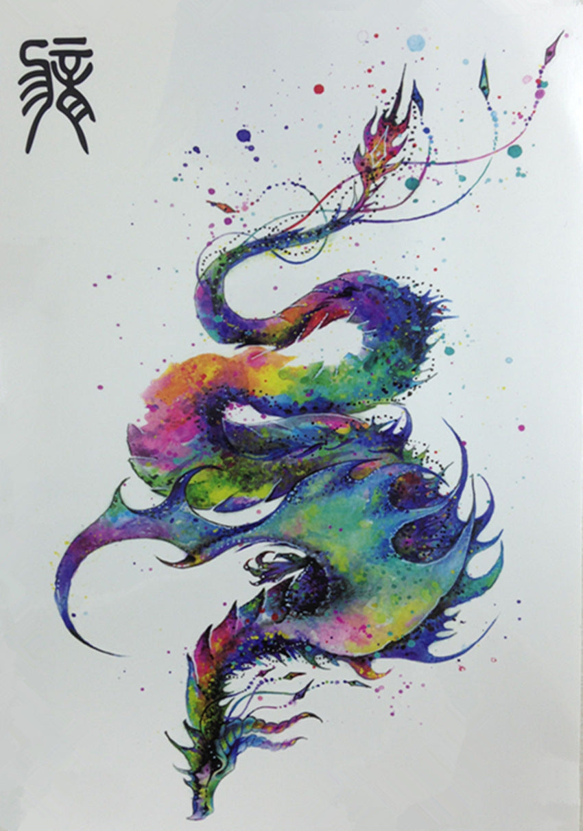 The Chinese Zodiac about Color Matching Dragon Body Art Beauty Makeup Waterproof Temporary Tattoo Stickers