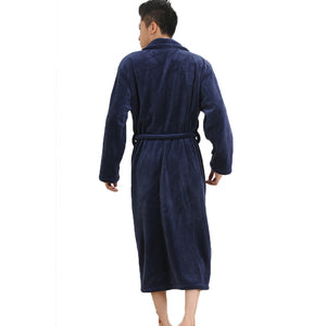 Thicken Coral Flannel Bathrobe Men Autumn Winter Bathrobe Casual Nightgown Long Men Women Sleepwear Robe Homewear Pajamas