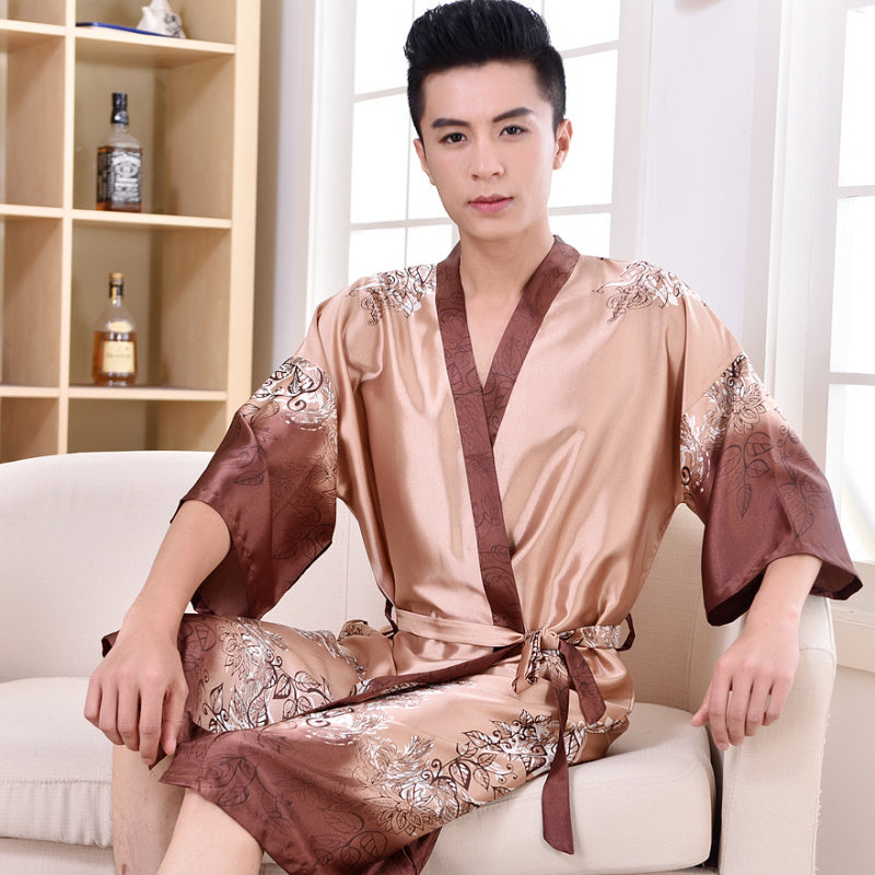 Thoshine 2017 Spring Summer Autumn Men Chinese Satin Silk Robes Male Bathrobe Adult Casual Home Clothing Nightwear Plus Size 3XL