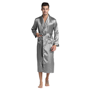 Tony&Candice Men's Silk Satin Bathrobe Robe Long Solid Silk Pajamas Men Silk Nightgown Sleepwear kimono homme Dressing Gown