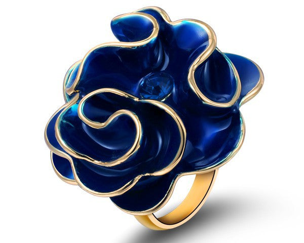 Top Enamel Fashion Ring Brand Chinese Gold Jewelry European And American Style Large Flower Rings Women Jewelry New Big Rings