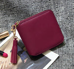 Top Quality Square Women Coin Purses Holders Wallet Female Leather Tassel Pendant Money Wallets Hot Fashion Wine Red Clutch Bag