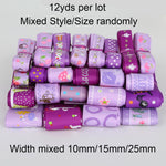Trendy Grosgrain Satin Ribbon random mixed Size/Style for Wedding Party Christmas Decoration DIY Gift Craft 12y/lot (1y/style)