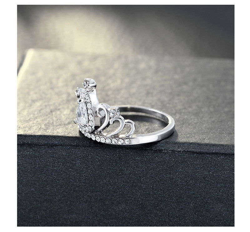 Trendy Princess Queen Crown Rings For Women Birthday Gift Silver Color Cubic Zirconia Engagement Wedding Promise Rings Jewelry