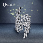 UMODE Brand Fashion Silver Color Angel Wings Crystal Ring for Women Jewelry Party Cocktail Ring Big Finger Open Anel Gift UR0382