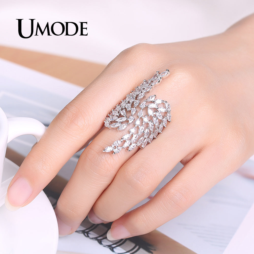 UMODE Brand Fashion Silver Color Angel Wings Crystal Ring for Women ...