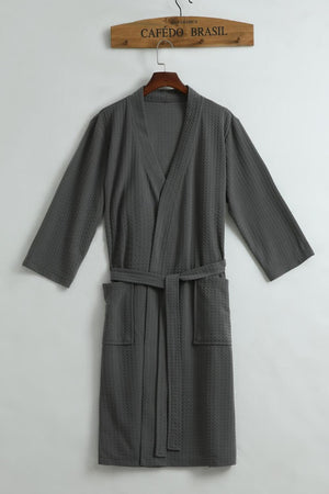 Unisex Thin Summer Kimono Cotton Robe Men Women Sexy Bathrobe Waffle Robes Soft Peignoir Homme Badjas Sleep Lounge Sleepwear
