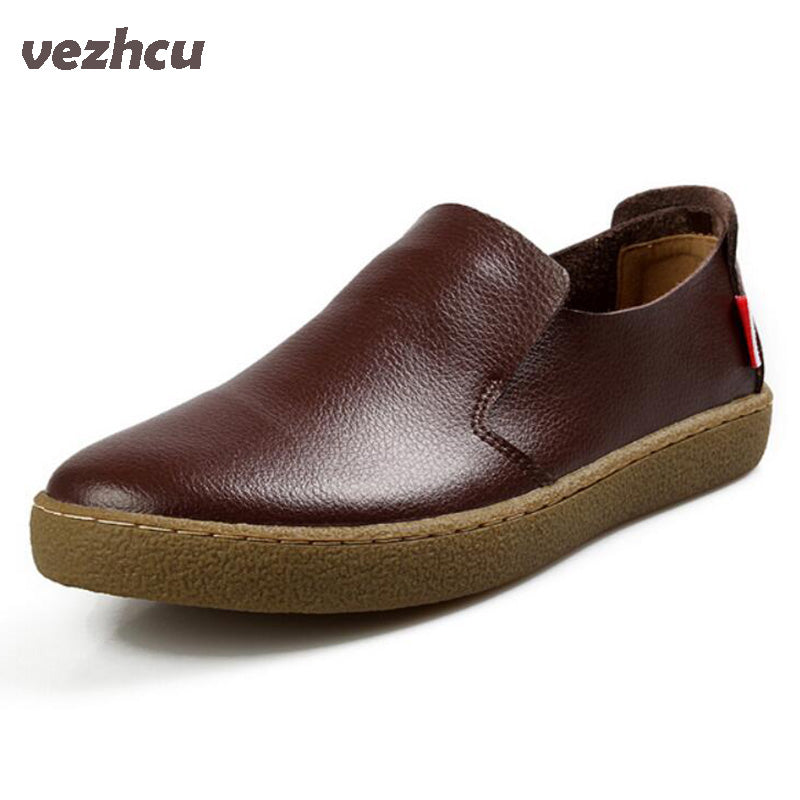 VZEHCU Autumn Men Shoes Fashion Genuine leather single shoes Men Causal shoes comfortable Flats Shoes