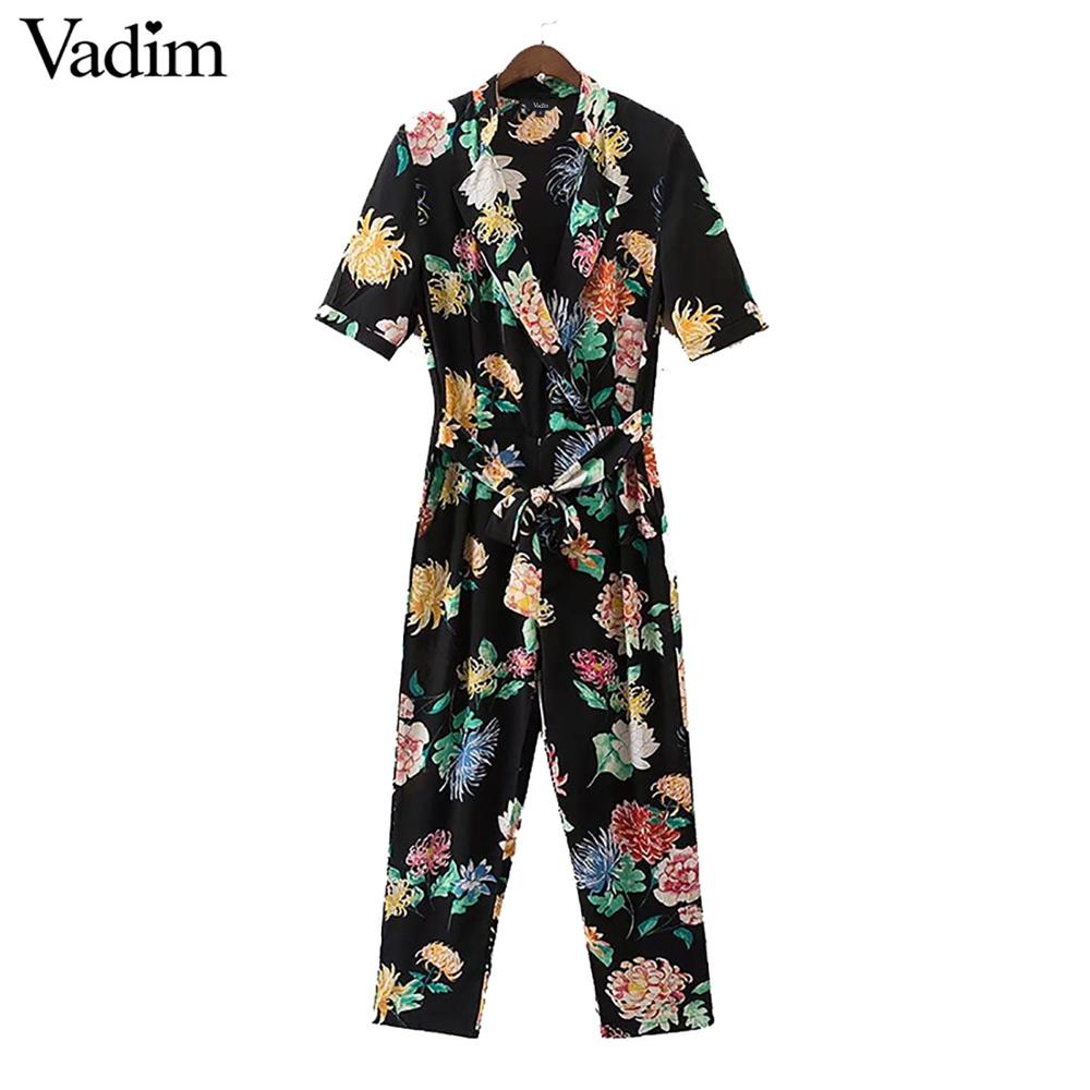 Vadim women sexy V neck chiffon floral jumpsuit sashes short sleeve pleated rompers ladies vintage casual jumpsuits KZ938