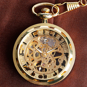 Vintage Watch Necklace Steampunk Skeleton Mechanical Fob Pocket Watch Clock Pendant Hand-winding Men Women Chain Gift