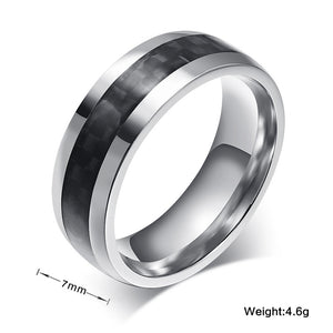 Vnox Fashion Men Ring Carbon Fiber Jewelry Stainless Steel Rings